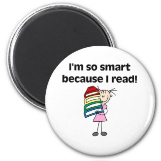 Girl Smart Because I Read 2 Inch Round Magnet