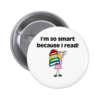 Girl Smart Because I Read 2 Inch Round Button