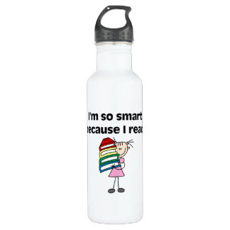 Girl Smart Because I Read 24oz Water Bottle