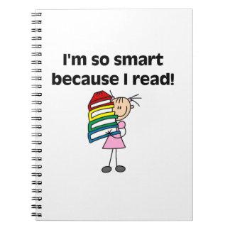 Girl Smart Because I Read Spiral Notebook