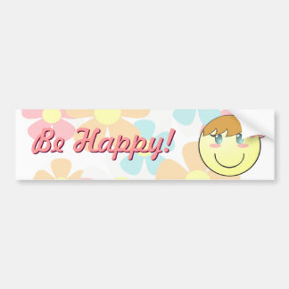 Girl Smiley Bumper Sticker