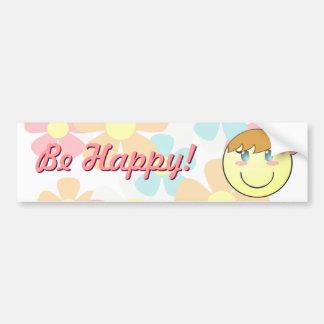 Girl Smiley Bumper Sticker