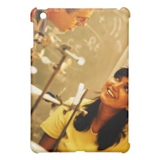 Girl smiling at teacher in chemistry lab iPad mini covers