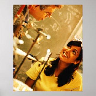 Girl smiling at teacher in chemistry lab poster