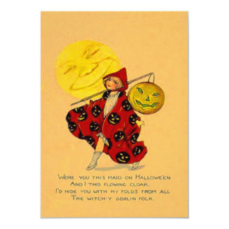 Girl Smiling Jack O Lantern Pumpkin Full Moon 5x7 Paper Invitation Card