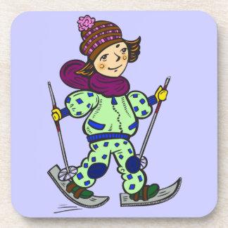 Girl Snow Skiing 2 Drink Coaster