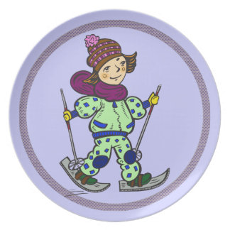 Girl Snow Skiing 2 Plate