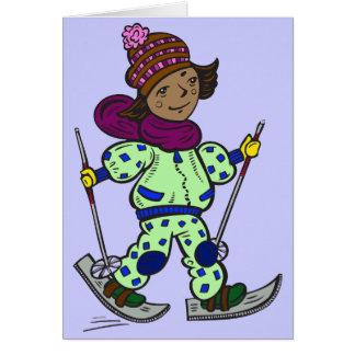 Girl Snow Skiing Card