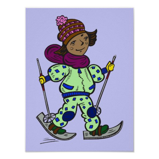 Girl Snow Skiing Poster