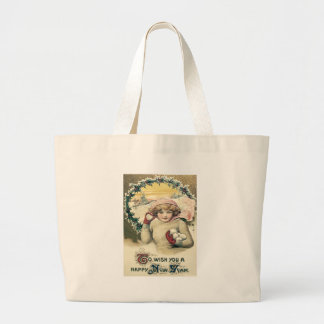 Girl Snowball Snow Holly Wreath Large Tote Bag