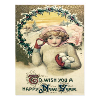Girl Snowball Snow Holly Wreath Postcard