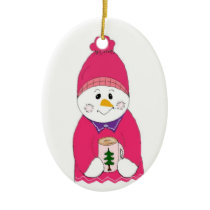 Girl Snowman in Pink Toque Ceramic Ornament