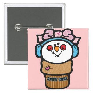 Girl Snowman Snow Cone Pinback Button