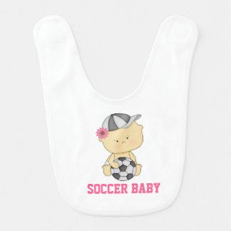 Girl Soccer Baby Bib - Pink