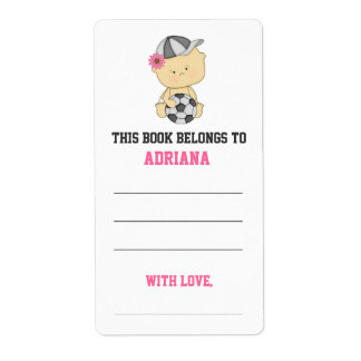Girl Soccer Baby Shower Bookplate - Pink