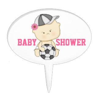 Girl Soccer Baby Shower Cake Topper - Pink