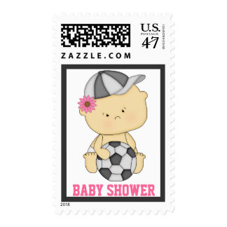 Girl Soccer Baby Shower Postage