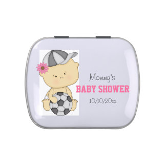 Girl Soccer Baby Shower Thank You - Pink Favor Candy Tin