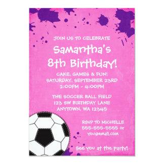 Girl Soccer Ball Birthday Party Invitations