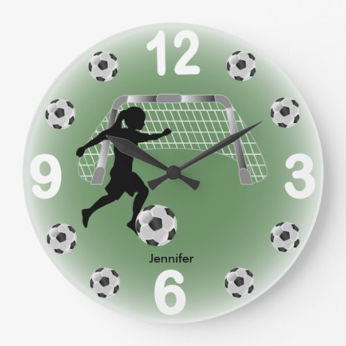 Girl Soccer Ball Player Large Clock