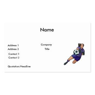 girl soccer goalie graphic business cards