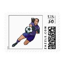 girl soccer goalie graphic postage