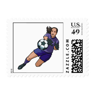 girl soccer goalie graphic postage stamps