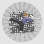 girl soccer goalie save classic round sticker