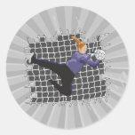 girl soccer goalie save classic round sticker