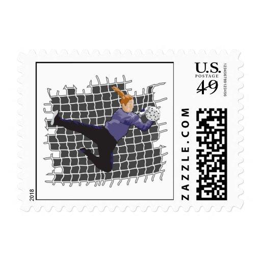 girl soccer goalie save postage stamp