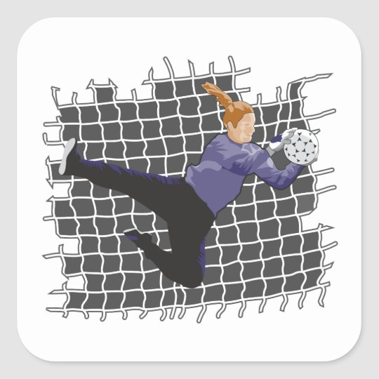 girl soccer goalie save square sticker