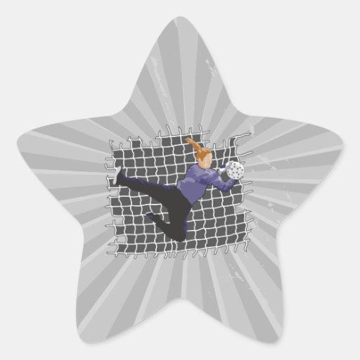 girl soccer goalie save star sticker
