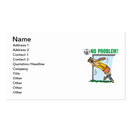 Girl Soccer Goalie T-shirts and Gifts Double-Sided Standard Business Cards (Pack Of 100)