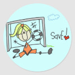 Girl Soccer Goalie Tshirts and Gifts Classic Round Sticker