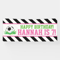 Girl Soccer Happy Birthday Banner