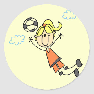 Girl Soccer Jump Tshirts and Gifts Classic Round Sticker