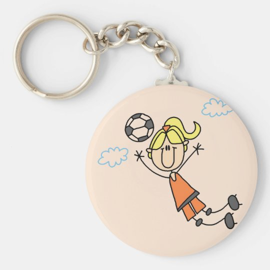 Girl Soccer Jump Tshirts and Gifts Keychain