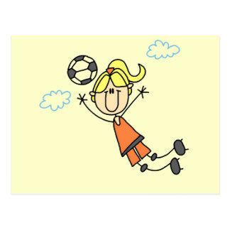 Girl Soccer Jump Tshirts and Gifts Postcard