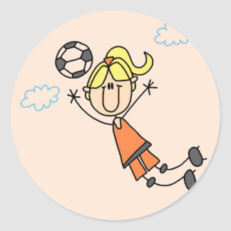 Girl Soccer Jump Tshirts and Gifts Sticker