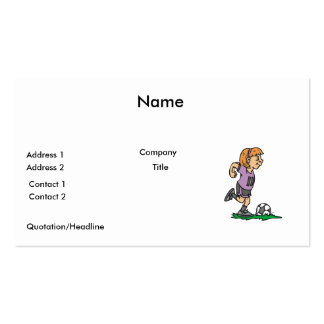 girl soccer player ready to kick business card template