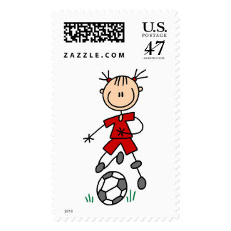 Girl Soccer Player Red Uniform Postage