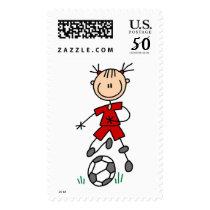 Girl Soccer Player Red Uniform Postage