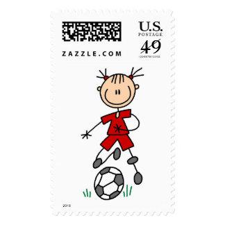 Girl Soccer Player Red Uniform Stamp