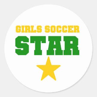 Girl Soccer Star Classic Round Sticker
