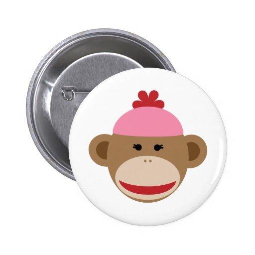 girl sock monkey 2 inch round button
