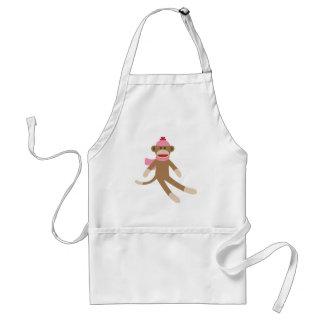 girl sock monkey adult apron