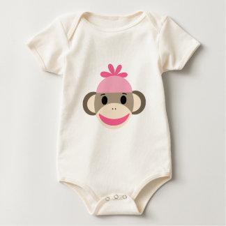 girl sock monkey baby bodysuit