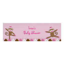 Girl Sock Monkey Baby Shower Banner Sign
