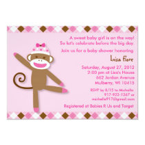 Girl Sock Monkey Baby Shower Invitations