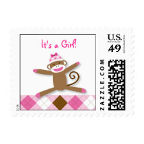 Girl Sock Monkey Baby Shower Postage Stamps